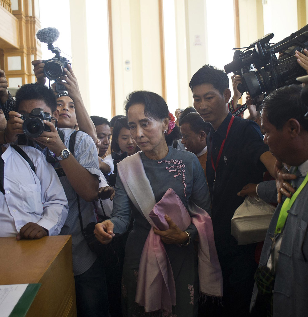 Aung San Suu Kyi arrives for Burma's first parliament meeting after general elections, at the Lower House of Parliament in Naypyidaw on November 16, 2015. (Ye Aung Thu/AFP/Getty Images)