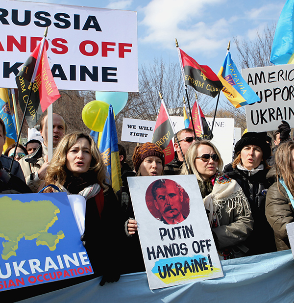 People show their support for Ukraine during a rally in front of the White House on March 6, 2014.