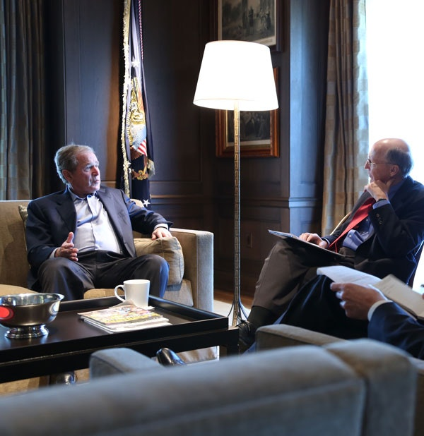 President George W. Bush with William McKenzie and Matthew Rooney (not pictured) discussing North America at the Bush Center. (Andrew Kaufmann / George W. Bush Presidential Center)