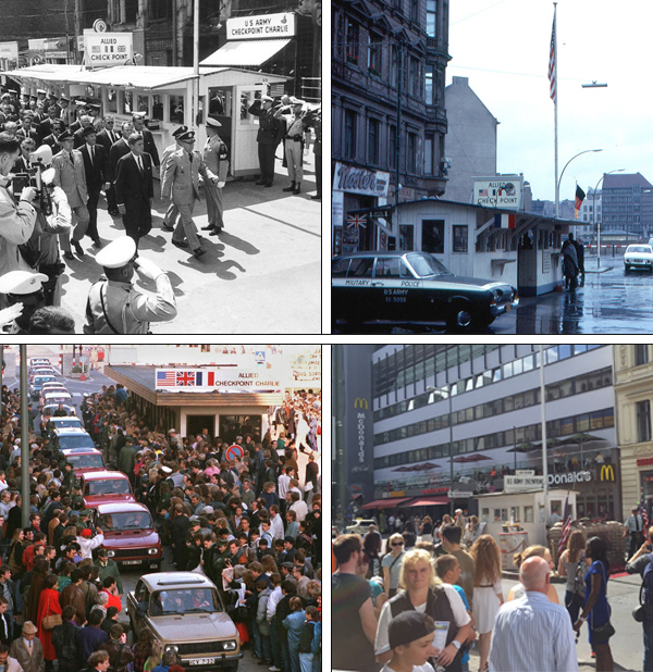 Checkpoint Charlie, the East/West Germany crossing, 1963 to today.
