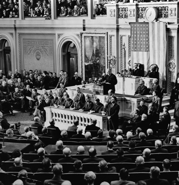 President Franklin Delano Roosevelt delivers his 1941 State of the Union address to a Joint Session of Congress. (Photo by Library of Congress/Corbis/VCG via Getty Images)