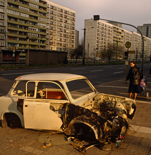 An abandoned Trabant car on a street in eastern Berlin, June 1990. (In Pictures Ltd./Corbis via Getty Images)