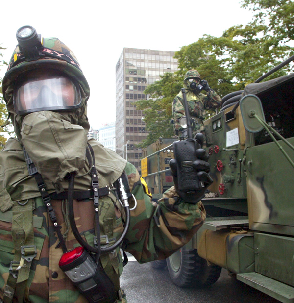 South Korean rescue workers participate in an anti-chemical and anti-biological terror drill on September 15, 2004 in Seoul, South Korea.  (Chung Sung-Jun/Getty Images)