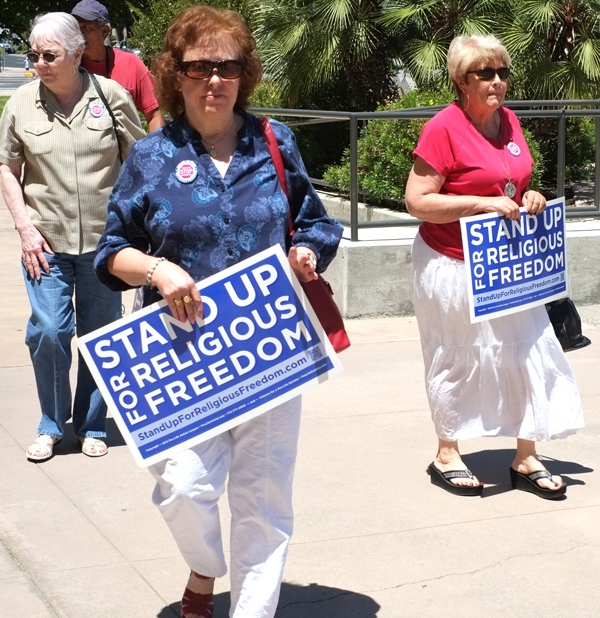 Protesters at the Stand Up for Religious Freedom Rally on June 8, 2012, in Bakersfield, California. (Richard Thornton / Shutterstock.com)