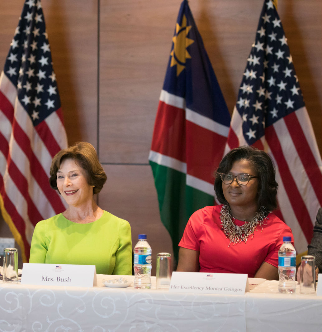 Mrs. Bush and Madame Geingos discuss the importance of investments in women and girls, April 6, 2017 in Windhoek, Namibia. (Paul Morse/George W. Bush Presidential Center)