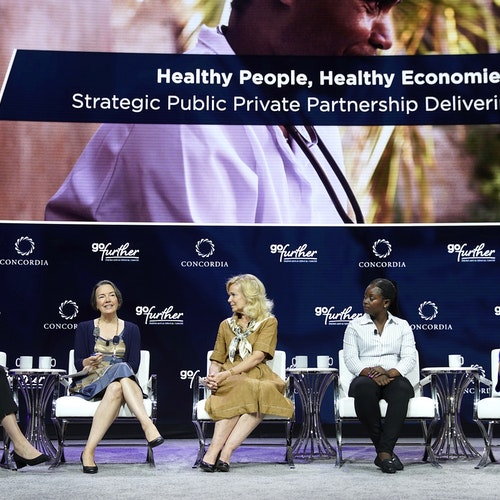 Cervical cancer survivor Lydia Musonda shares her story at Concordia Summit