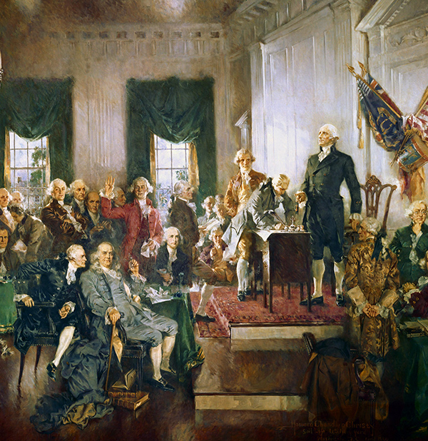Howard Chandler Christy's Scene at the Signing of the Constitution