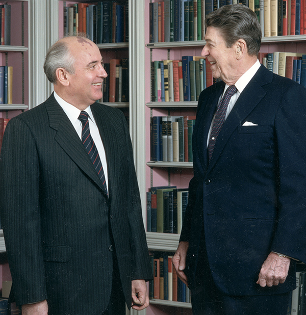 Soviet Secretary General Mikhail Gorbachev and President Ronald Reagan in 1987.