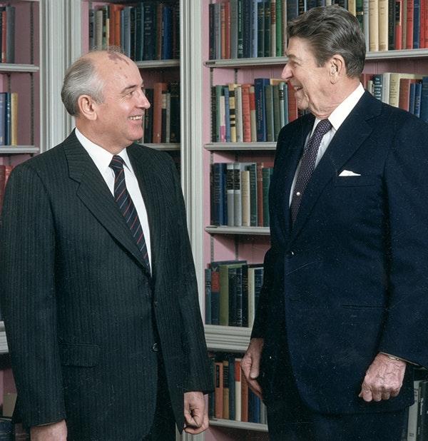 Soviet Secretary General Mikhail Gorbachev and President Ronald Reagan in 1987.