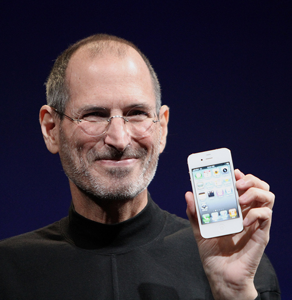 Steve Jobs shows off the iPhone 4 at the 2010 Worldwide Developers Conference.