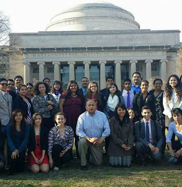 Martin Mares with students from the Ivy League Project visiting MIT.