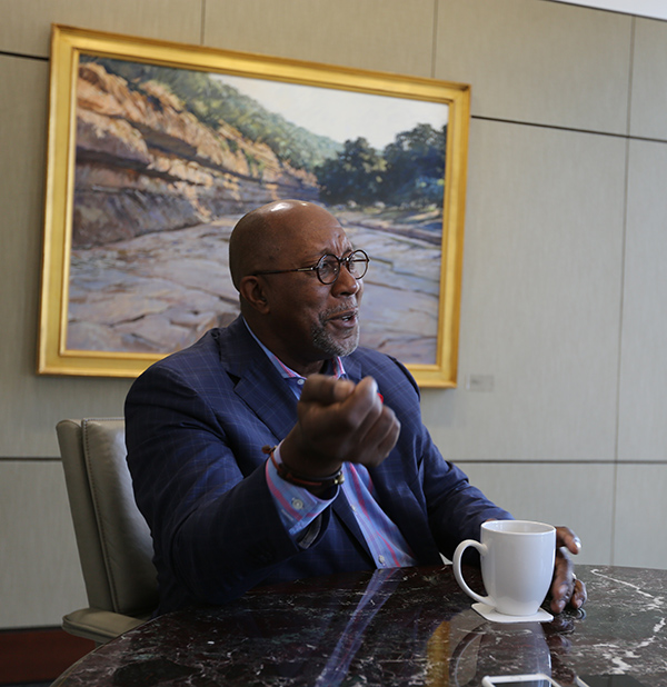 Ron Kirk talks trade at his office in Dallas.