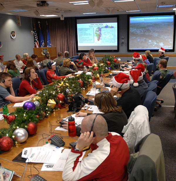 NORAD Santa Operations Center in 2007. (NORAD Public Affairs, Sgt. 1st Class Gail Braym)