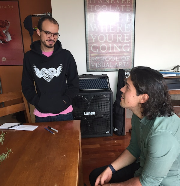 Roberto Hidaldo (left) and Jaime Rodas (right) in their apartment workspace in Mexico.