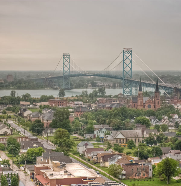 Ambassador Bridge, connecting Detroit, Michigan with Windsor, Ontario.