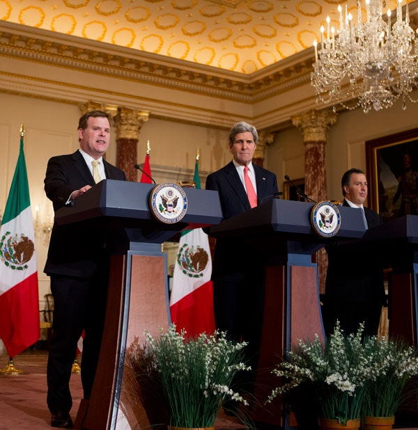 Canadian Foreign Minister John Baird, Secretary of State John Kerry, and Mexican Foreign Secretary Jose Antonio Meade speak at the State Department in Washington, Friday, Jan. 17, 2014. (AP Photo/Manuel Balce Ceneta)