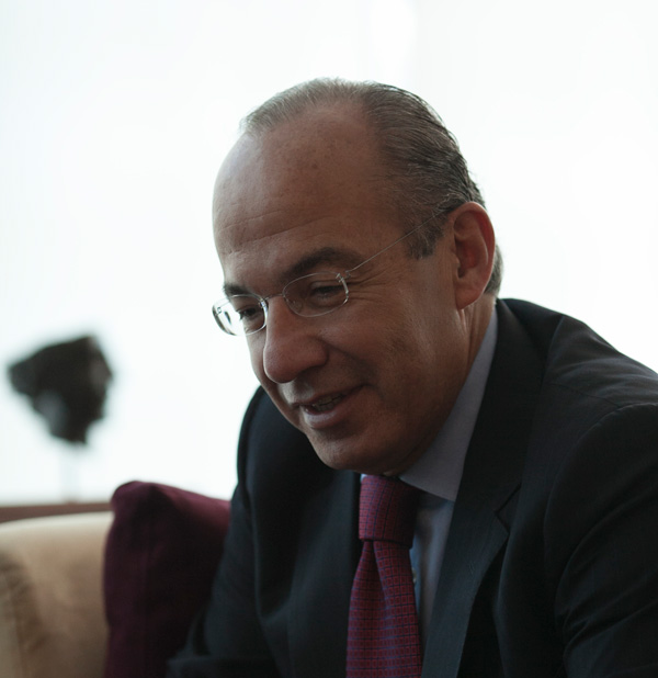 Former Mexican President Felipe Calderón during his interview with the Bush  Institute. (Michael J. Wright / George W. Bush Presidential Center)