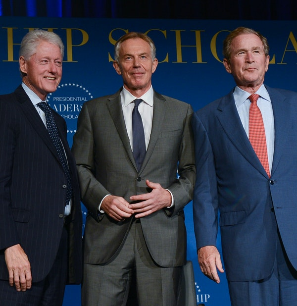 President Bill Clinton, Prime Minister Tony Blair, and President George W. Bush at Little Rock Central High School, July 14, 2016. (Grant Miller/George W. Bush Presidential Center)