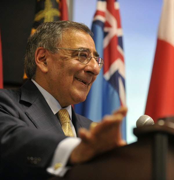 Secretary of Defense Leon E. Panetta delivers remarks during the U.S. Pacific Command change of command ceremony at the Nimitz-MacArthur Pacific Command Center at Camp H.M. Smith, Hawaii, March 9, 2012. (Glenn Fawcett/DoD)