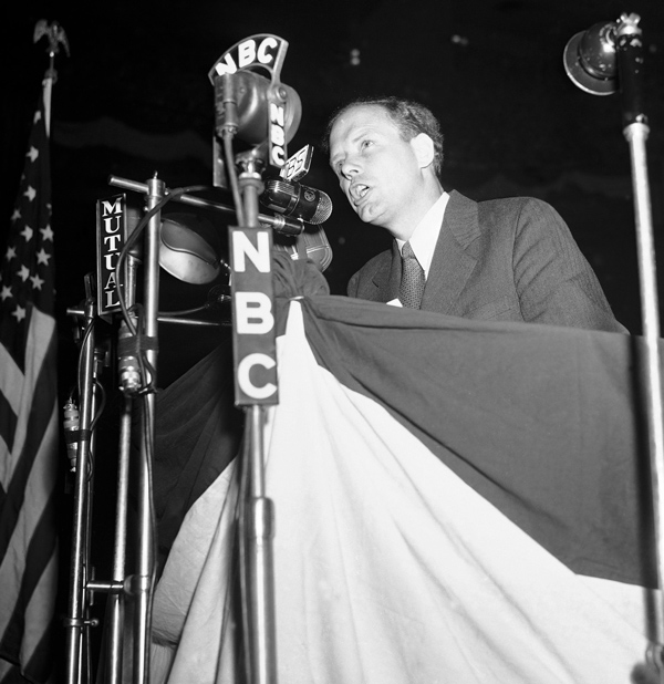 Charles A. Lindbergh speaks at the America First rally at Madison Square Garden in New York, May 23, 1941. (AP Photo)