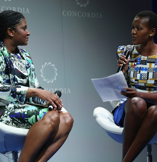 Madame Monica Geingos (left) and WaterAid America Youth Ambassador & SEED Project Partnerships Manager Vivian Onano speak at the 2016 Concordia Summit, September 20, 2016. (Paul Morigi / Getty Images)