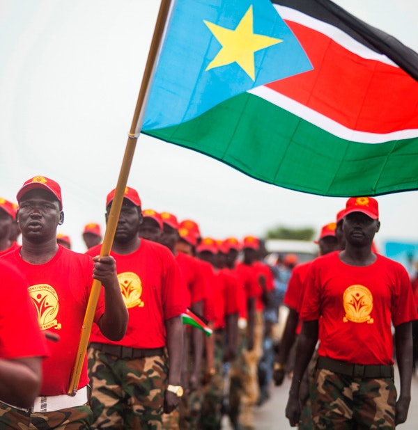 Former child soldiers and members of the Red Army Foundation march on July 9, 2017 on the streets of Juba, South Sudan to commemorate the sixth anniversary of the country's independence. (Albert Gonzalez Farran/AFP/Getty Images)