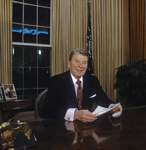 President Ronald Reagan delivers his 34th and final televised speech to the nation from the Oval Office, January, 11, 1989.