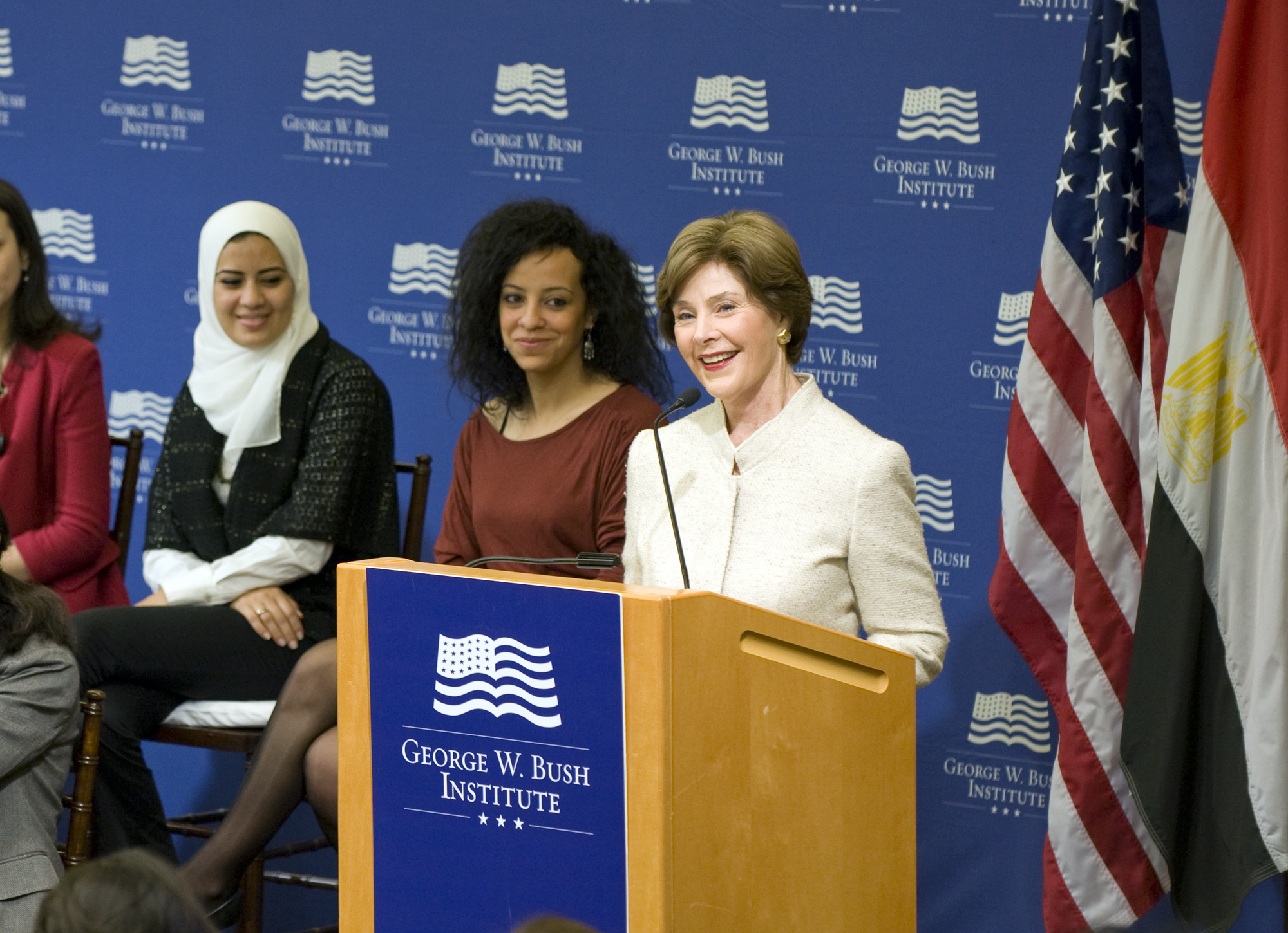 Mrs. Laura Bush Celebrates the George W. Bush Institute Inaugural Class of Egyptian Fellows on International Women's Day